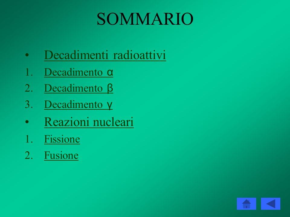 SOMMARIO Decadimenti radioattivi Reazioni nucleari Decadimento α