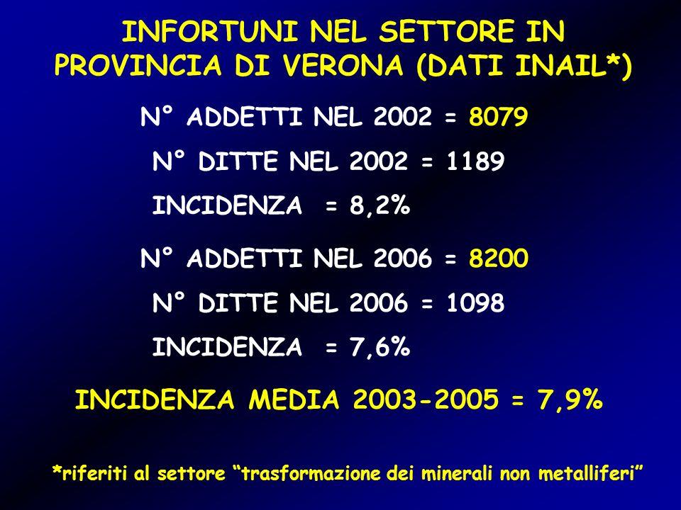 INFORTUNI NEL SETTORE IN PROVINCIA DI VERONA (DATI INAIL*)