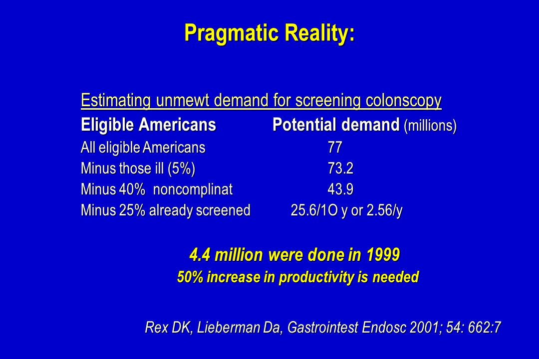 Pragmatic Reality: Estimating unmewt demand for screening colonscopy