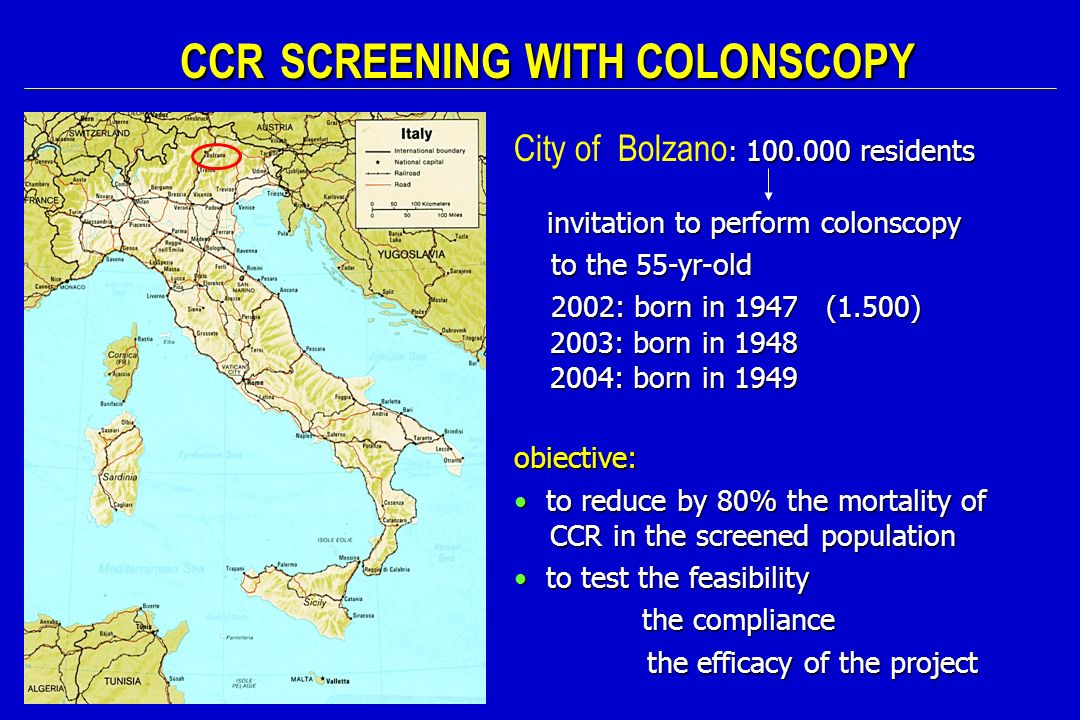 CCR SCREENING WITH COLONSCOPY