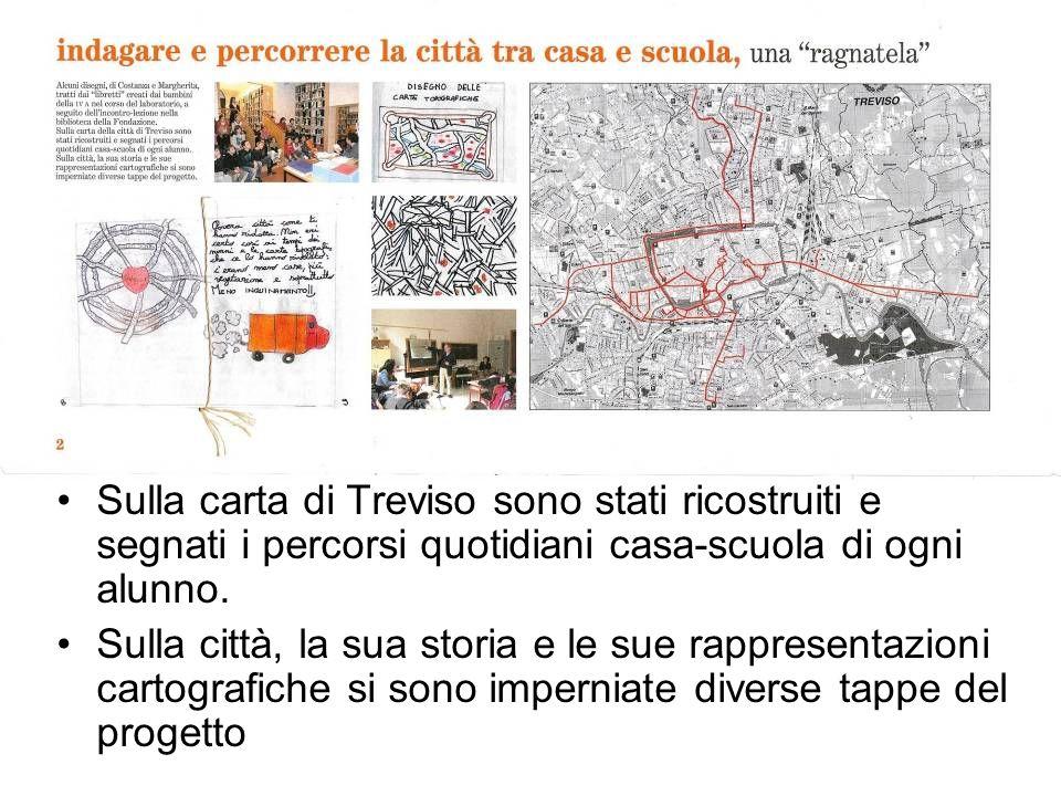 Sulla carta di Treviso sono stati ricostruiti e segnati i percorsi quotidiani casa-scuola di ogni alunno.