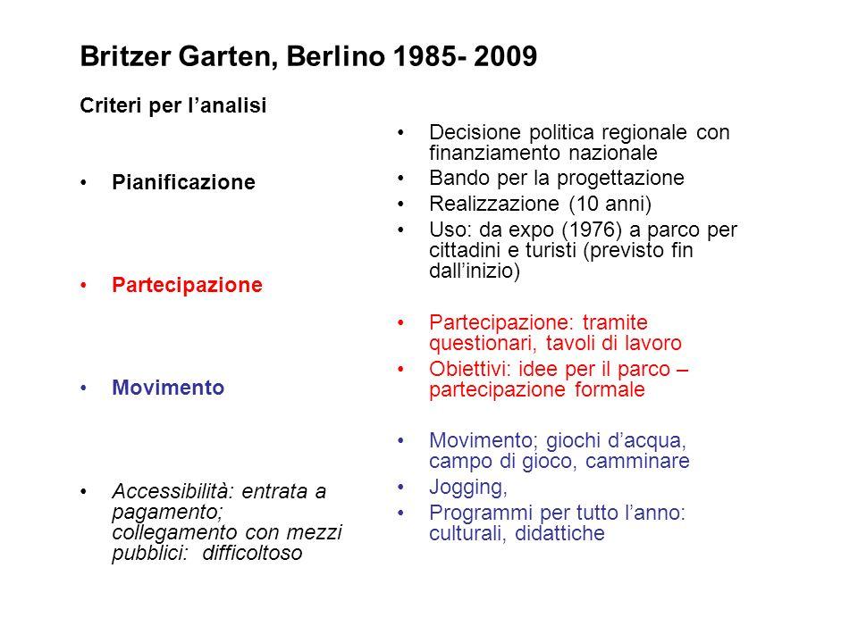 Britzer Garten, Berlino 1985- 2009