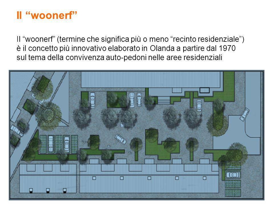 Il woonerf Il woonerf (termine che significa più o meno recinto residenziale ) è il concetto più innovativo elaborato in Olanda a partire dal 1970 sul tema della convivenza auto-pedoni nelle aree residenziali