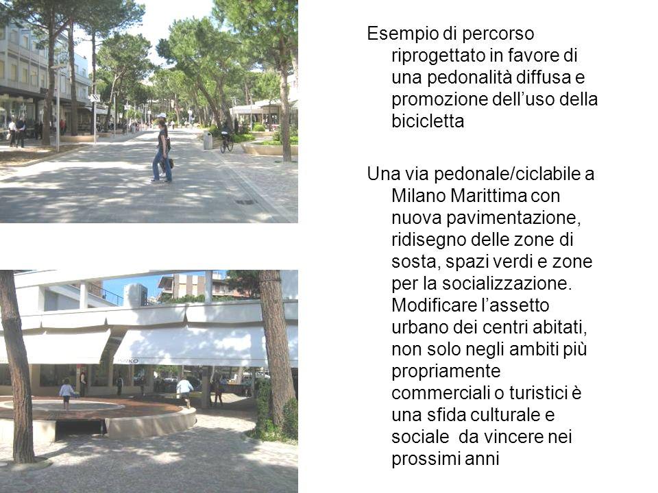 Esempio di percorso riprogettato in favore di una pedonalità diffusa e promozione dell'uso della bicicletta