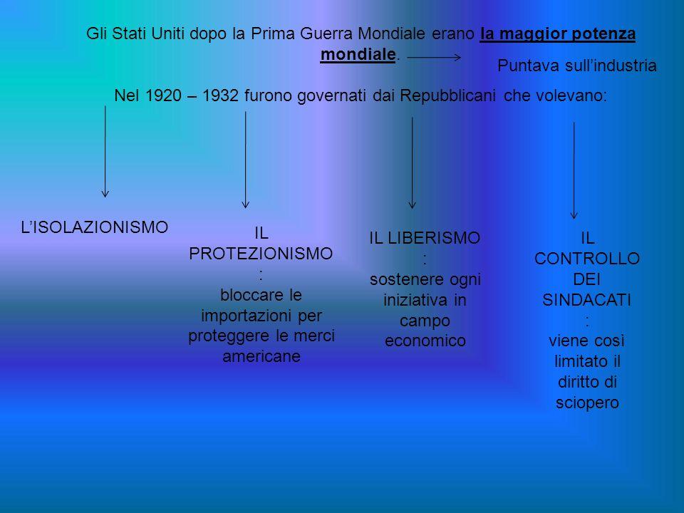 Nel 1920 – 1932 furono governati dai Repubblicani che volevano: