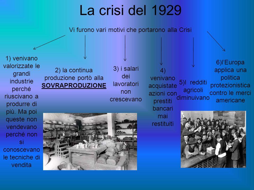 La crisi del 1929 Vi furono vari motivi che portarono alla Crisi