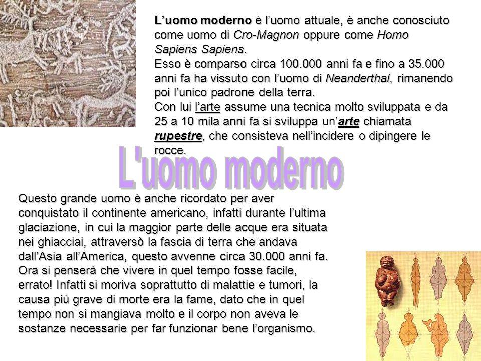 L'uomo moderno è l'uomo attuale, è anche conosciuto come uomo di Cro-Magnon oppure come Homo Sapiens Sapiens.