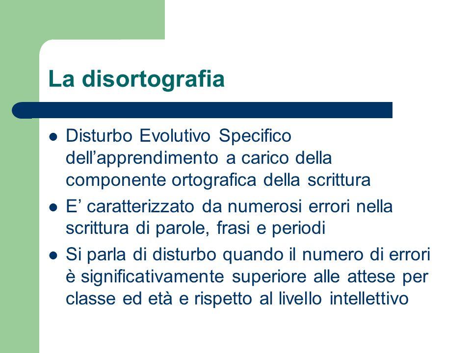 La disortografia Disturbo Evolutivo Specifico dell'apprendimento a carico della componente ortografica della scrittura.