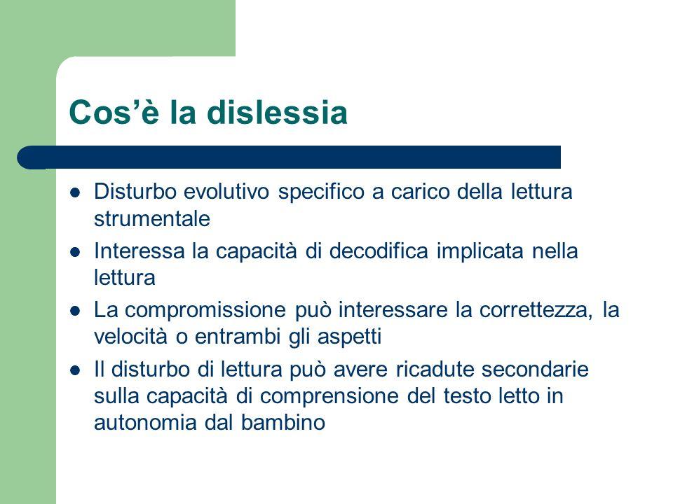 Cos'è la dislessia Disturbo evolutivo specifico a carico della lettura strumentale. Interessa la capacità di decodifica implicata nella lettura.