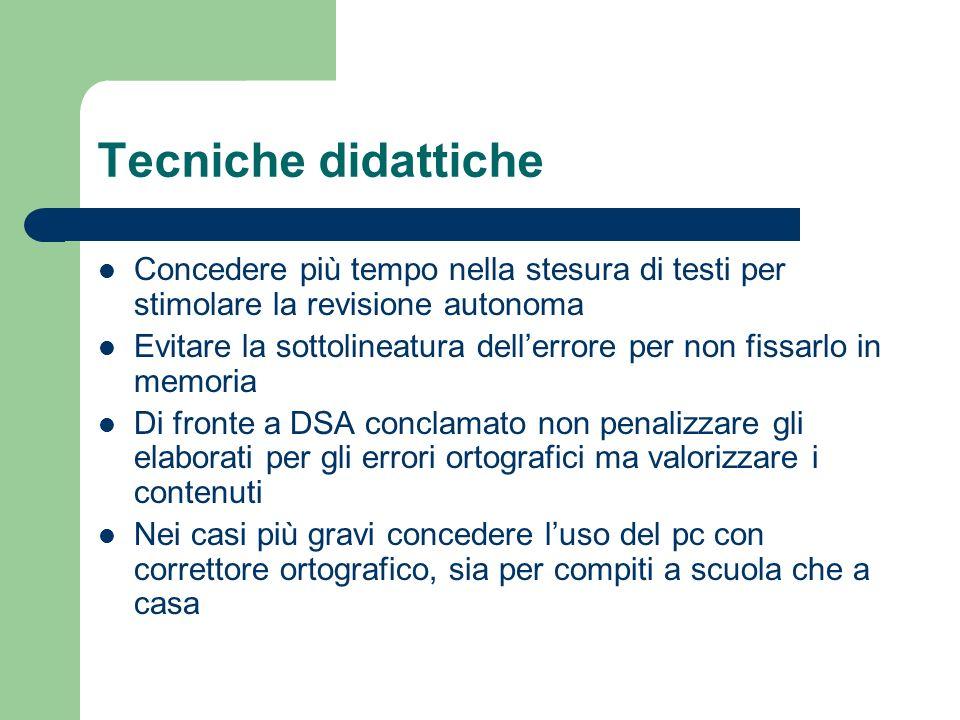 Tecniche didattiche Concedere più tempo nella stesura di testi per stimolare la revisione autonoma.