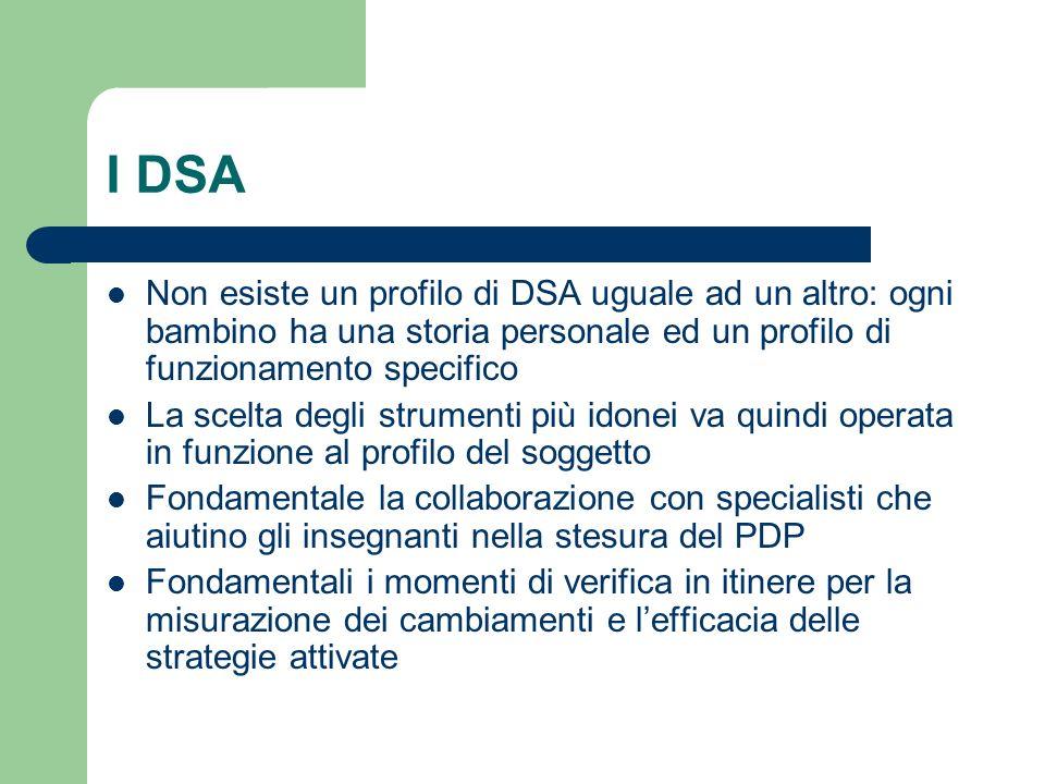 I DSA Non esiste un profilo di DSA uguale ad un altro: ogni bambino ha una storia personale ed un profilo di funzionamento specifico.