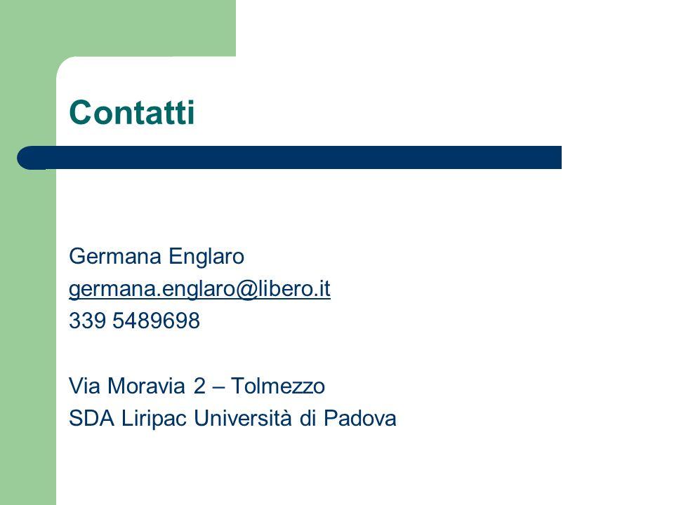 Contatti Germana Englaro germana.englaro@libero.it 339 5489698