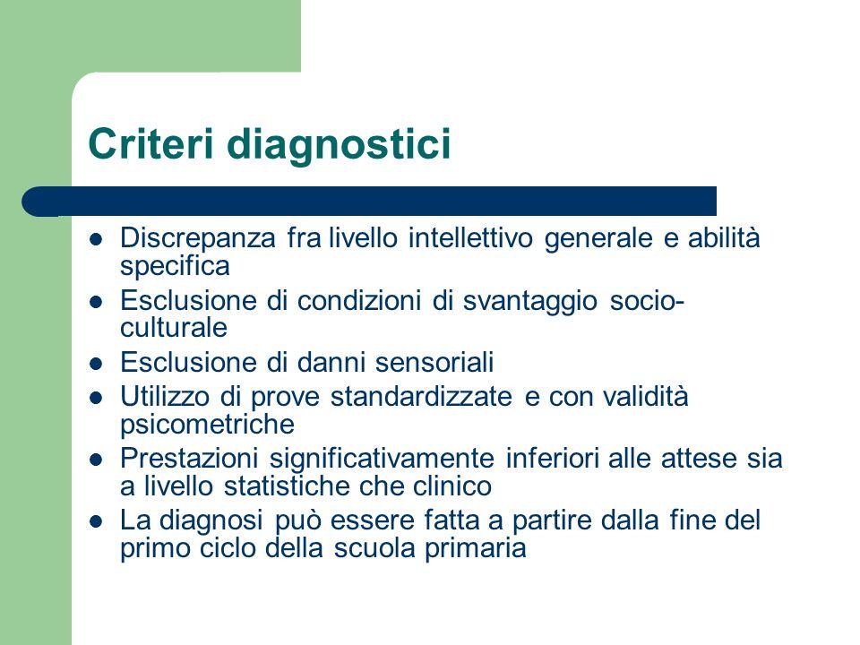Criteri diagnostici Discrepanza fra livello intellettivo generale e abilità specifica. Esclusione di condizioni di svantaggio socio-culturale.