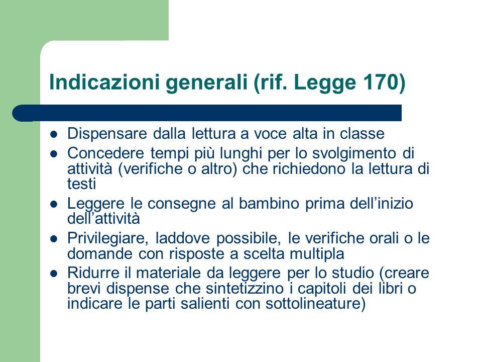 Indicazioni generali (rif. Legge 170)