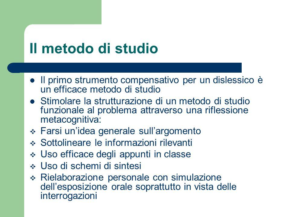 Il metodo di studio Il primo strumento compensativo per un dislessico è un efficace metodo di studio.
