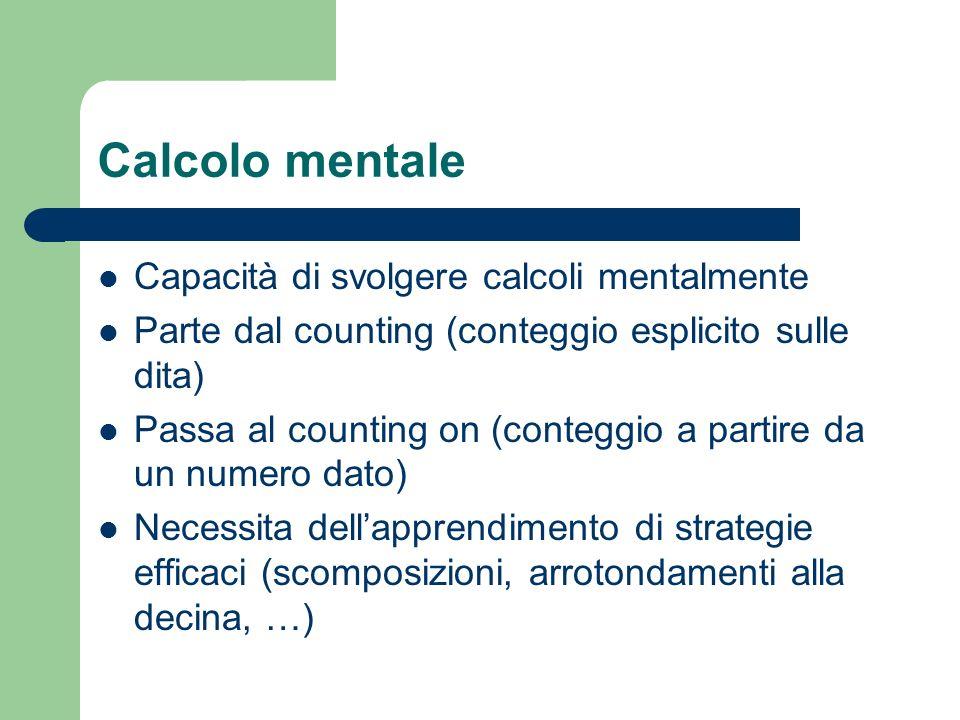 Calcolo mentale Capacità di svolgere calcoli mentalmente