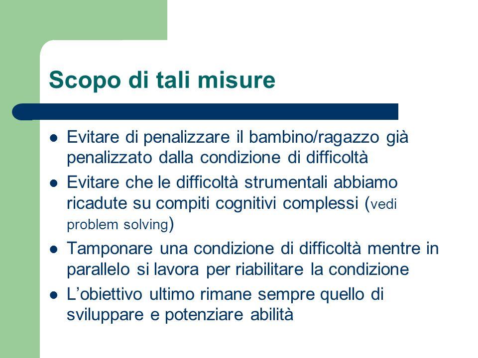 Scopo di tali misure Evitare di penalizzare il bambino/ragazzo già penalizzato dalla condizione di difficoltà.