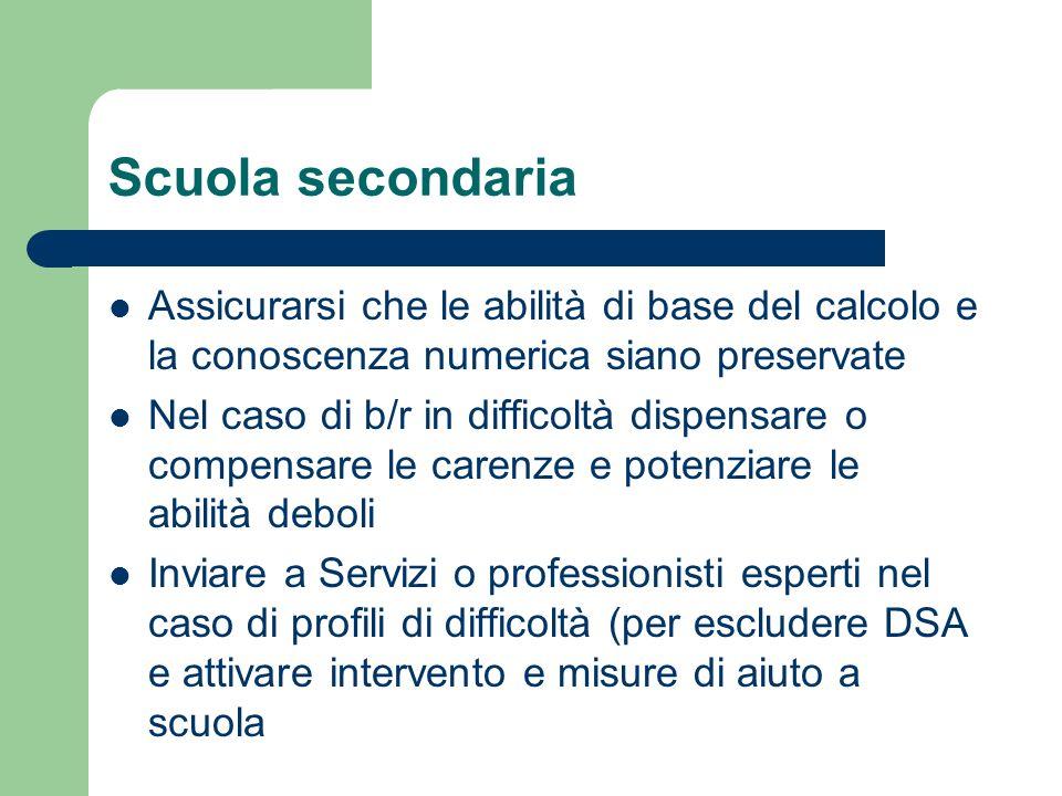 Scuola secondaria Assicurarsi che le abilità di base del calcolo e la conoscenza numerica siano preservate.