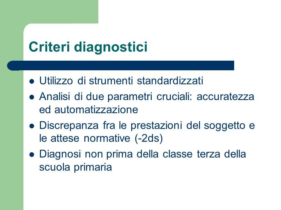 Criteri diagnostici Utilizzo di strumenti standardizzati
