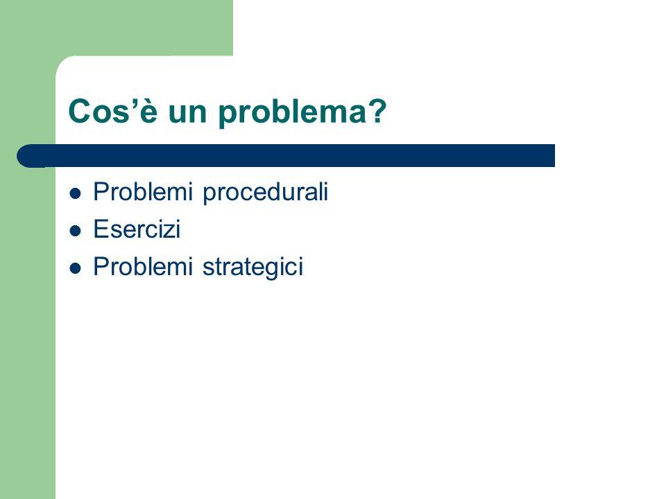 Cos'è un problema Problemi procedurali Esercizi Problemi strategici