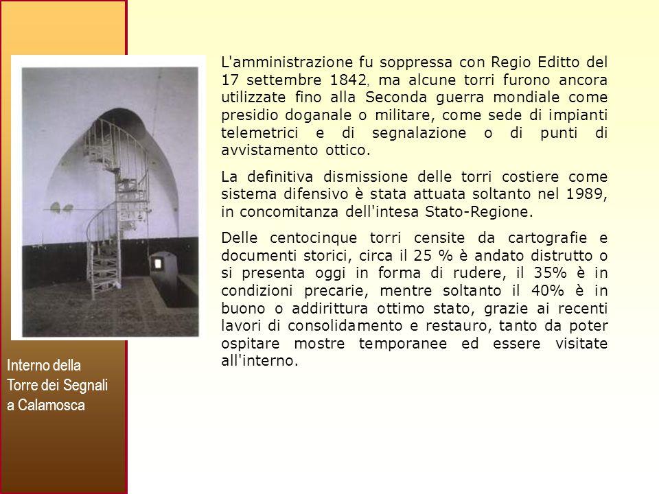 Interno della Torre dei Segnali a Calamosca
