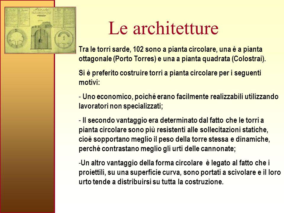 Le architetture Tra le torri sarde, 102 sono a pianta circolare, una è a pianta ottagonale (Porto Torres) e una a pianta quadrata (Colostrai).