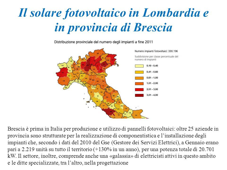 Il solare fotovoltaico in Lombardia e in provincia di Brescia