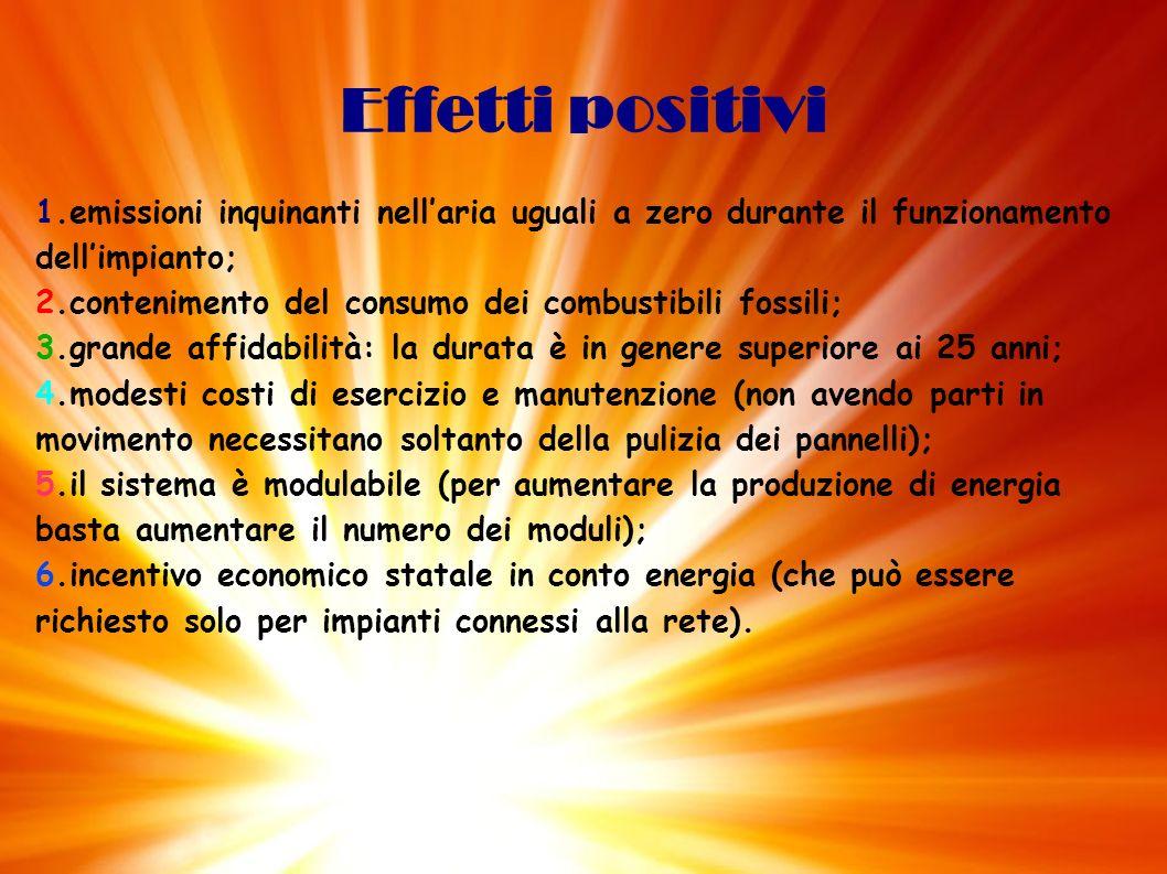 Effetti positivi1.emissioni inquinanti nell'aria uguali a zero durante il funzionamento dell'impianto;