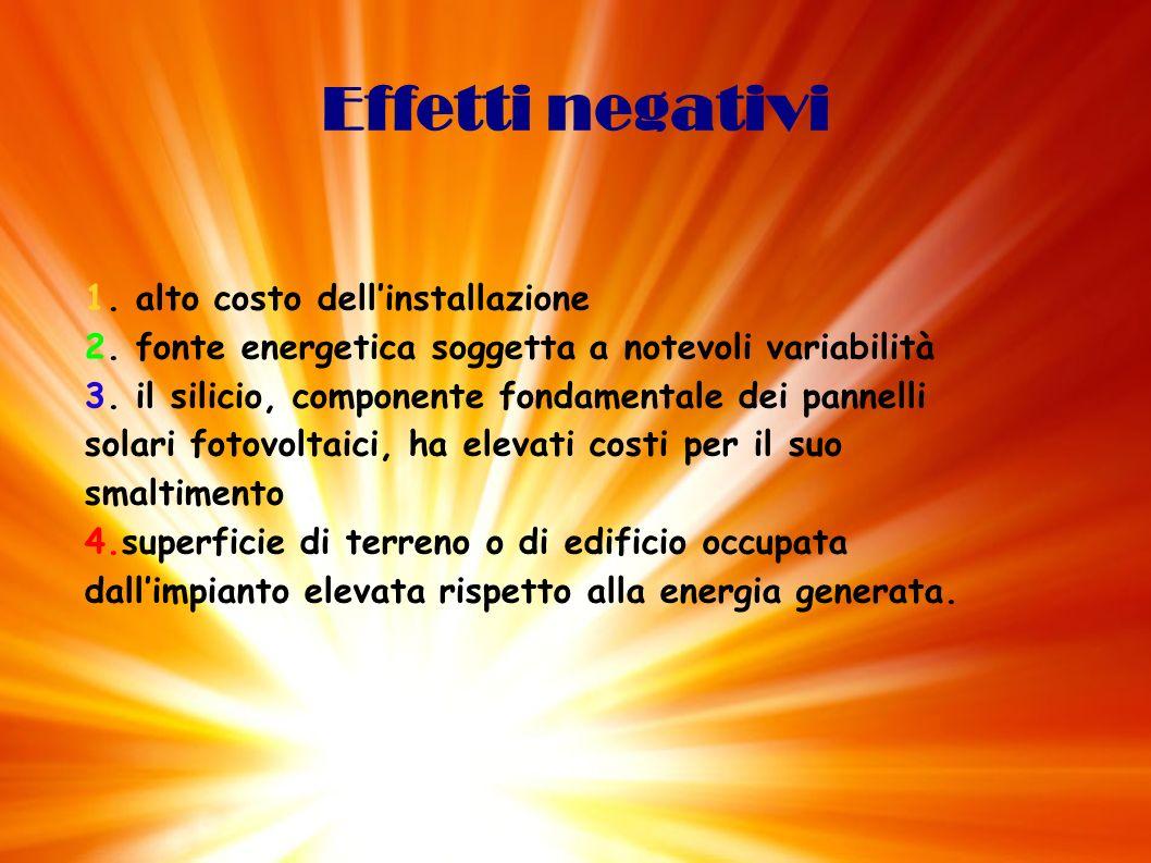 Effetti negativi1. alto costo dell'installazione 2. fonte energetica soggetta a notevoli variabilità.
