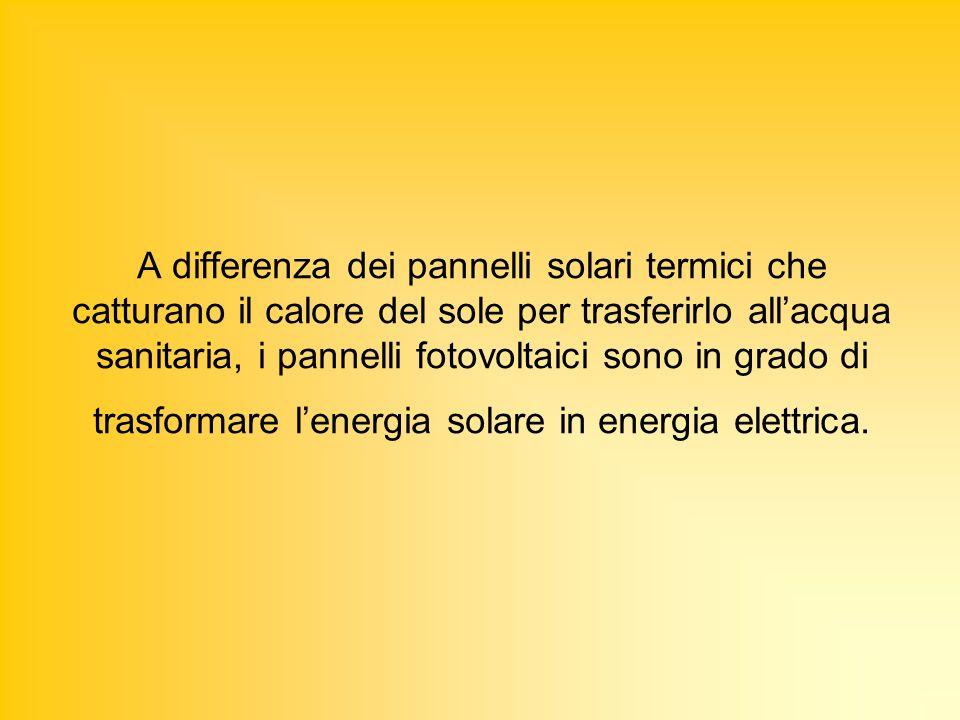 A differenza dei pannelli solari termici che catturano il calore del sole per trasferirlo all'acqua sanitaria, i pannelli fotovoltaici sono in grado di trasformare l'energia solare in energia elettrica.