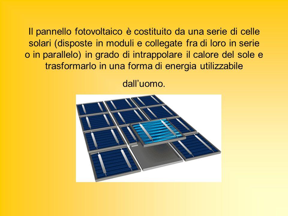 Il pannello fotovoltaico è costituito da una serie di celle solari (disposte in moduli e collegate fra di loro in serie o in parallelo) in grado di intrappolare il calore del sole e trasformarlo in una forma di energia utilizzabile dall'uomo.