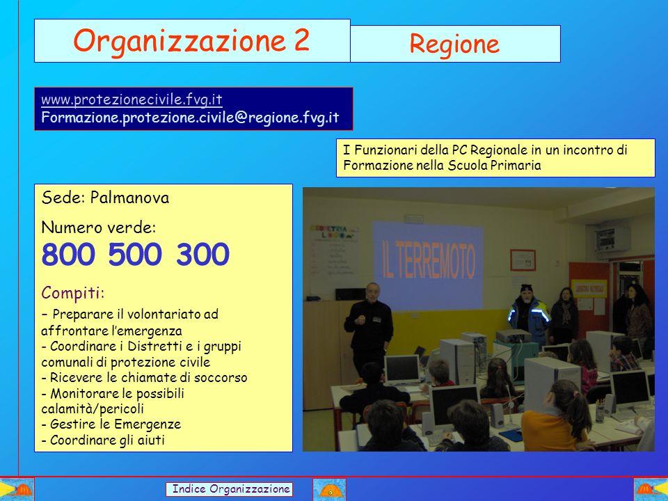 Organizzazione 2 Regione Sede: Palmanova Numero verde: 800 500 300