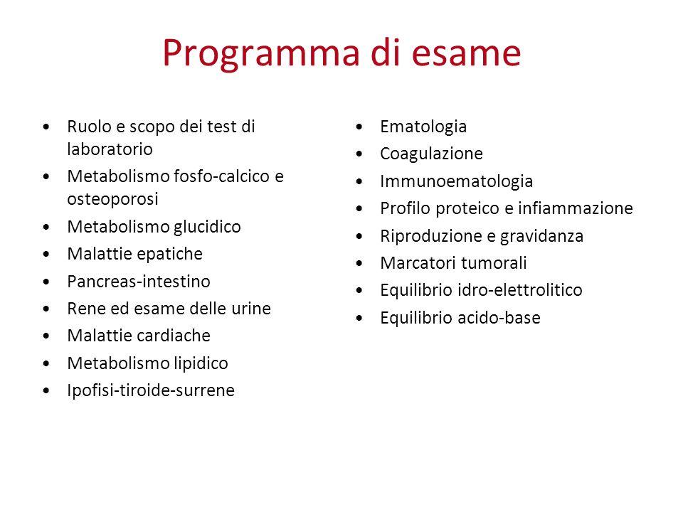 Programma di esame Ruolo e scopo dei test di laboratorio