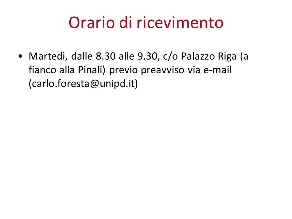 Orario di ricevimento Martedì, dalle 8.30 alle 9.30, c/o Palazzo Riga (a fianco alla Pinali) previo preavviso via e-mail (carlo.foresta@unipd.it)