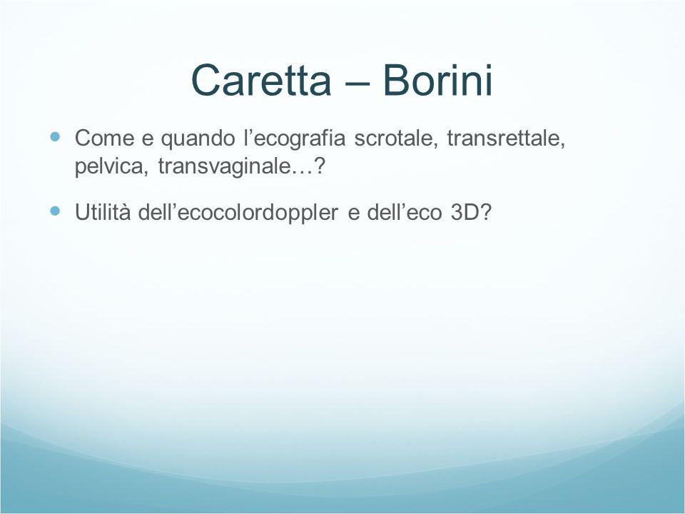 Caretta – Borini Come e quando l'ecografia scrotale, transrettale, pelvica, transvaginale….