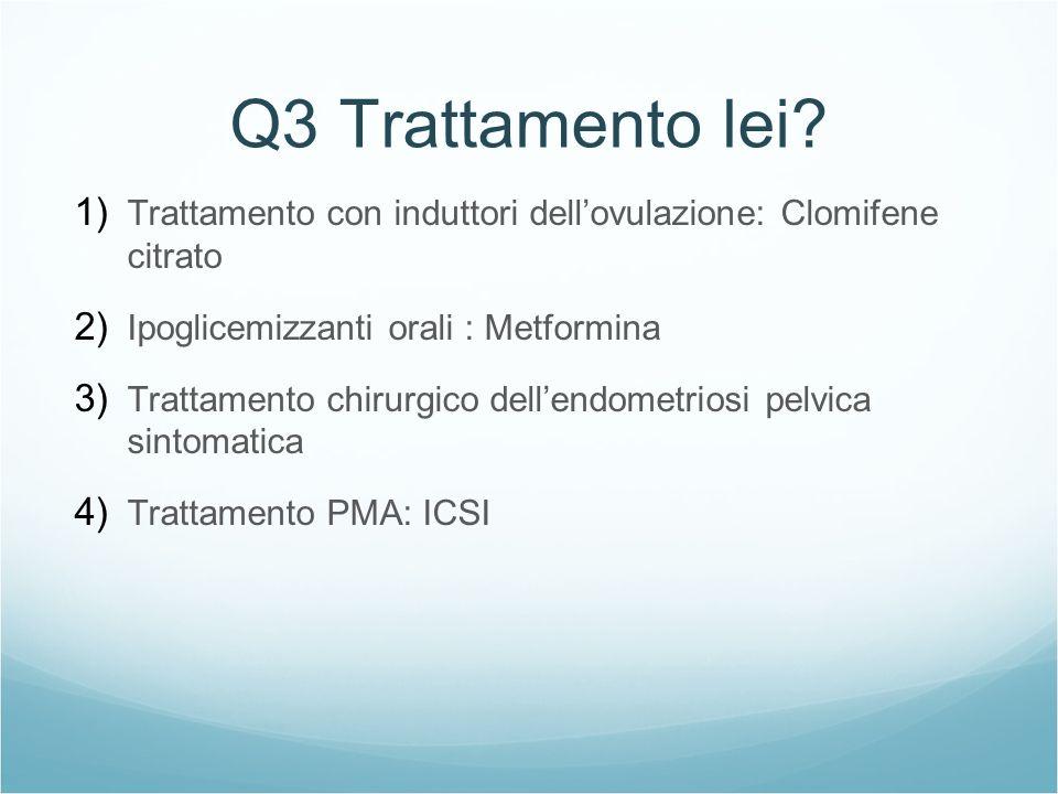 Q3 Trattamento lei Trattamento con induttori dell'ovulazione: Clomifene citrato. Ipoglicemizzanti orali : Metformina.