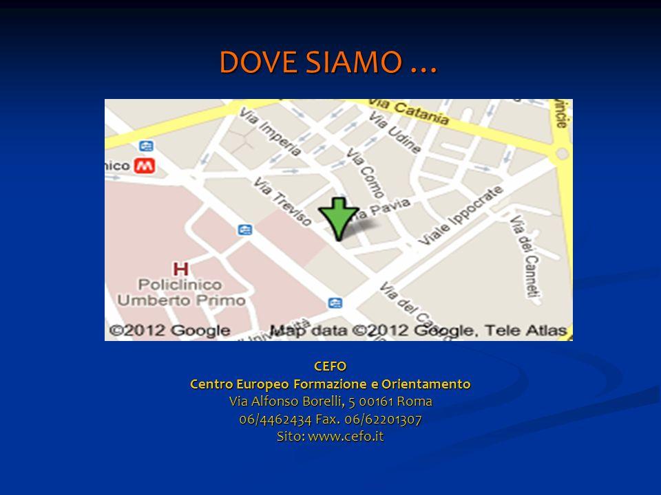 DOVE SIAMO … CEFO Centro Europeo Formazione e Orientamento