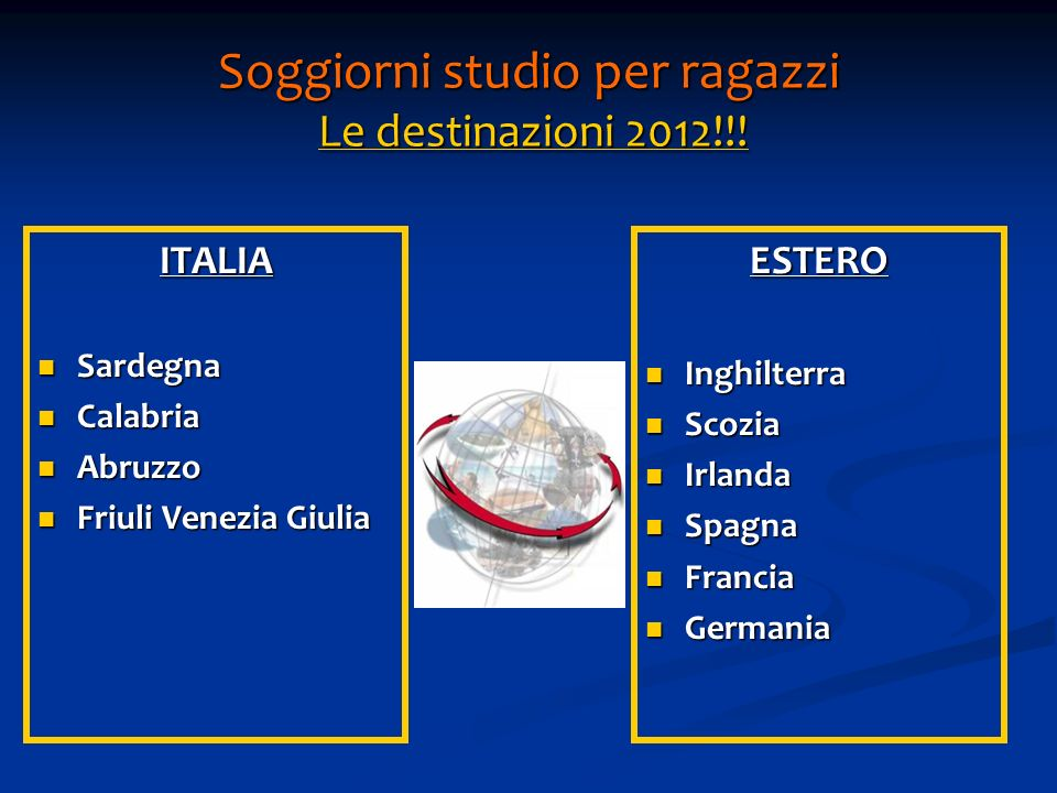 Soggiorni studio per ragazzi Le destinazioni 2012!!!