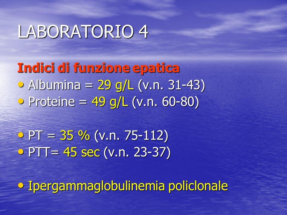 LABORATORIO 4 Indici di funzione epatica