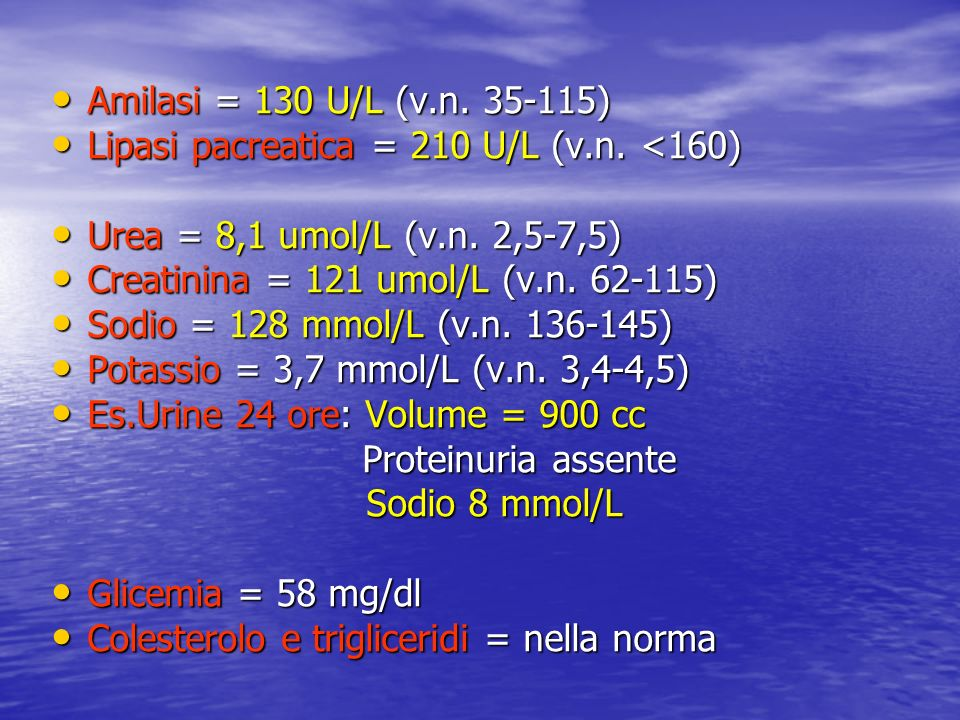 Amilasi = 130 U/L (v.n. 35-115) Lipasi pacreatica = 210 U/L (v.n. <160) Urea = 8,1 umol/L (v.n. 2,5-7,5)