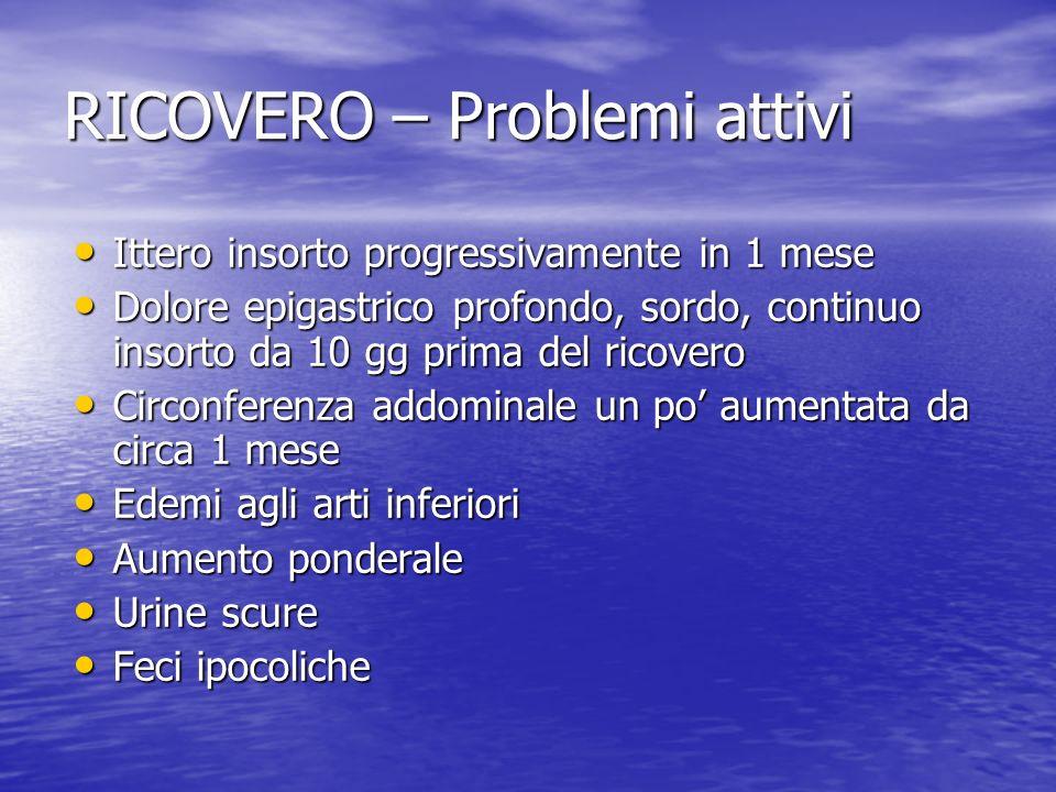 RICOVERO – Problemi attivi