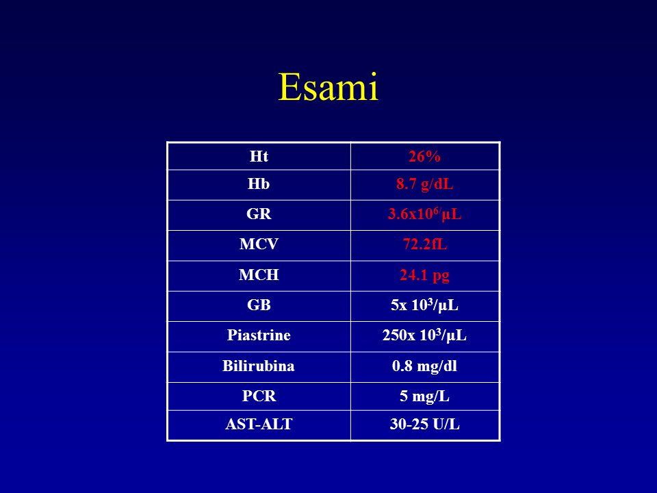 Esami Ht 26% Hb 8.7 g/dL GR 3.6x106/μL MCV 72.2fL MCH 24.1 pg GB