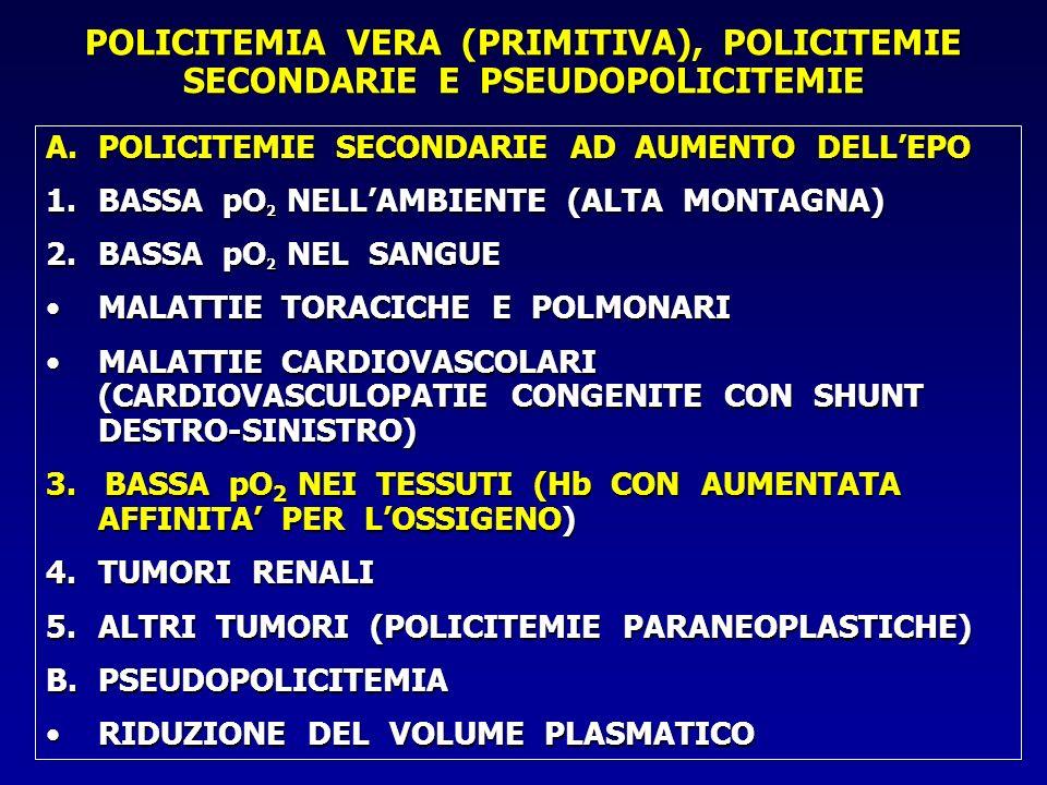 POLICITEMIA VERA (PRIMITIVA), POLICITEMIE SECONDARIE E PSEUDOPOLICITEMIE