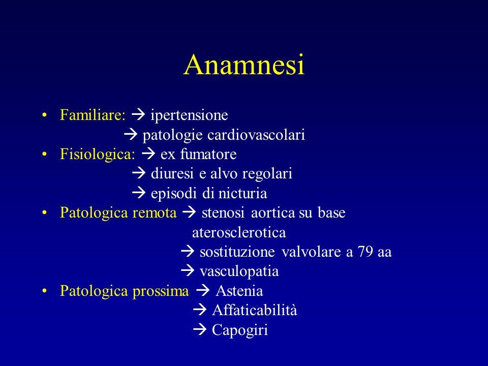 Anamnesi Familiare:  ipertensione  patologie cardiovascolari