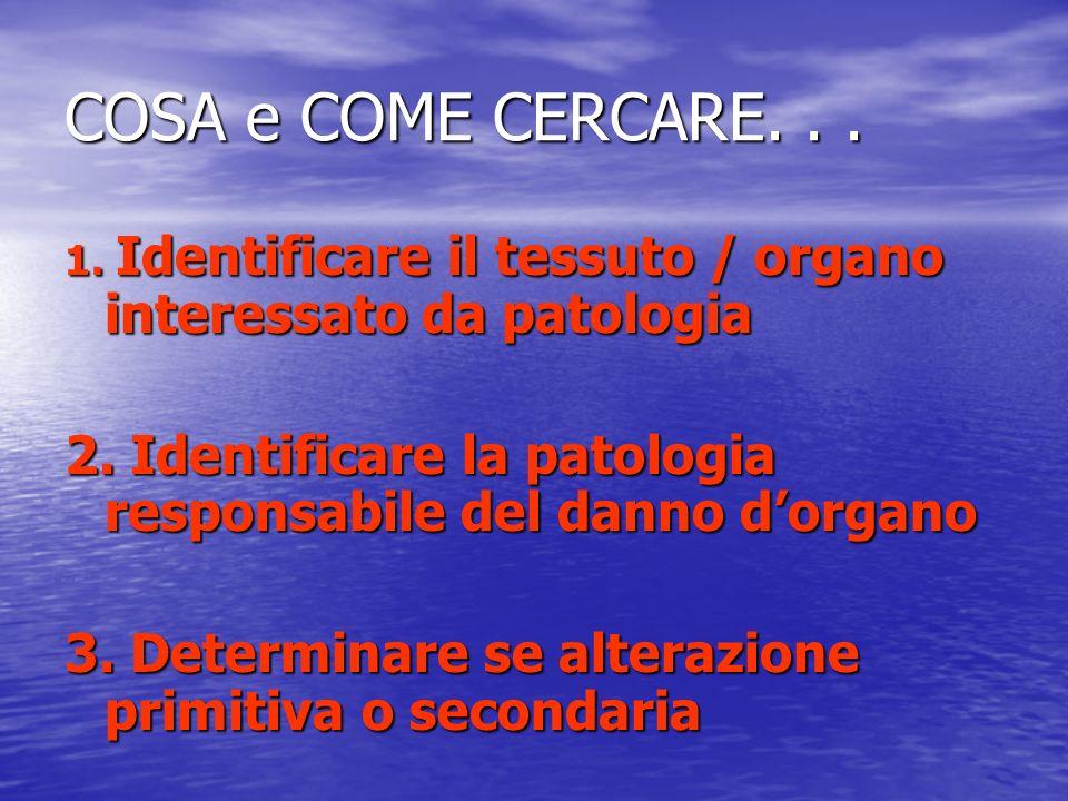 COSA e COME CERCARE. . . 1. Identificare il tessuto / organo interessato da patologia. 2. Identificare la patologia responsabile del danno d'organo.