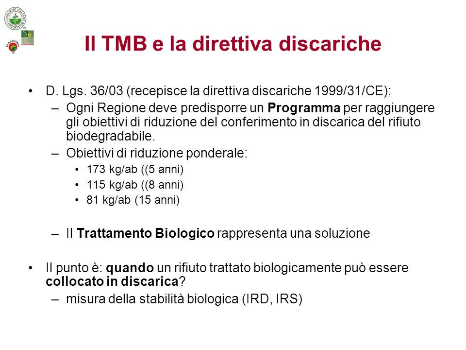 Il TMB e la direttiva discariche