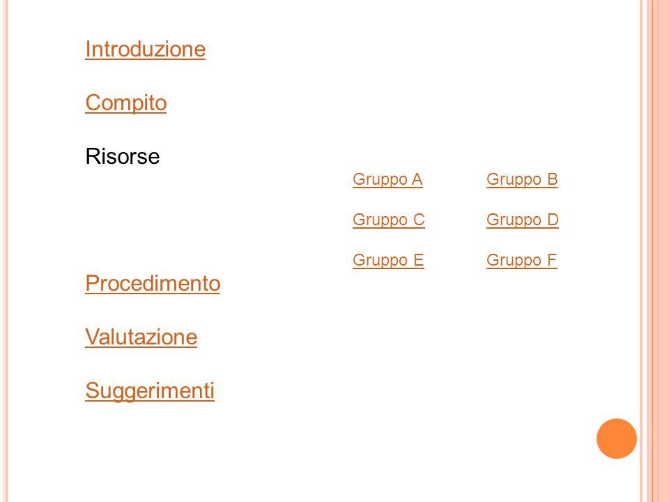 Introduzione Compito Risorse Procedimento Valutazione Suggerimenti