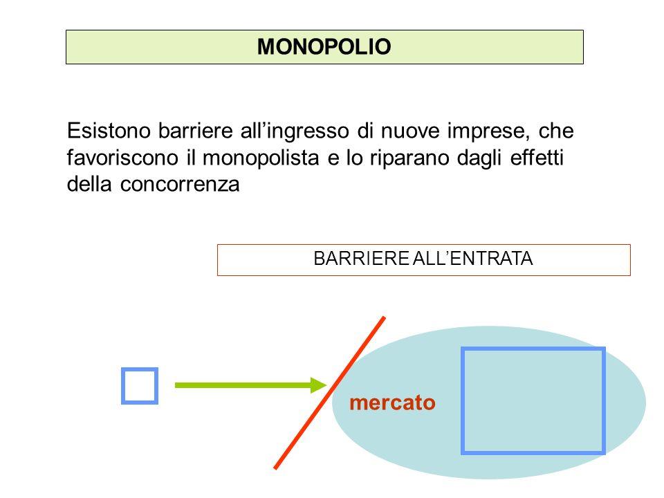 MONOPOLIO Esistono barriere all'ingresso di nuove imprese, che favoriscono il monopolista e lo riparano dagli effetti della concorrenza.