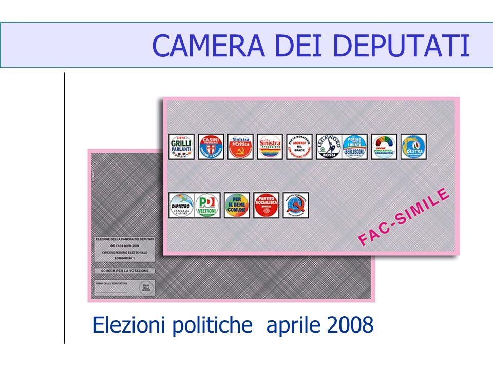 CAMERA DEI DEPUTATI Elezioni politiche aprile 2008