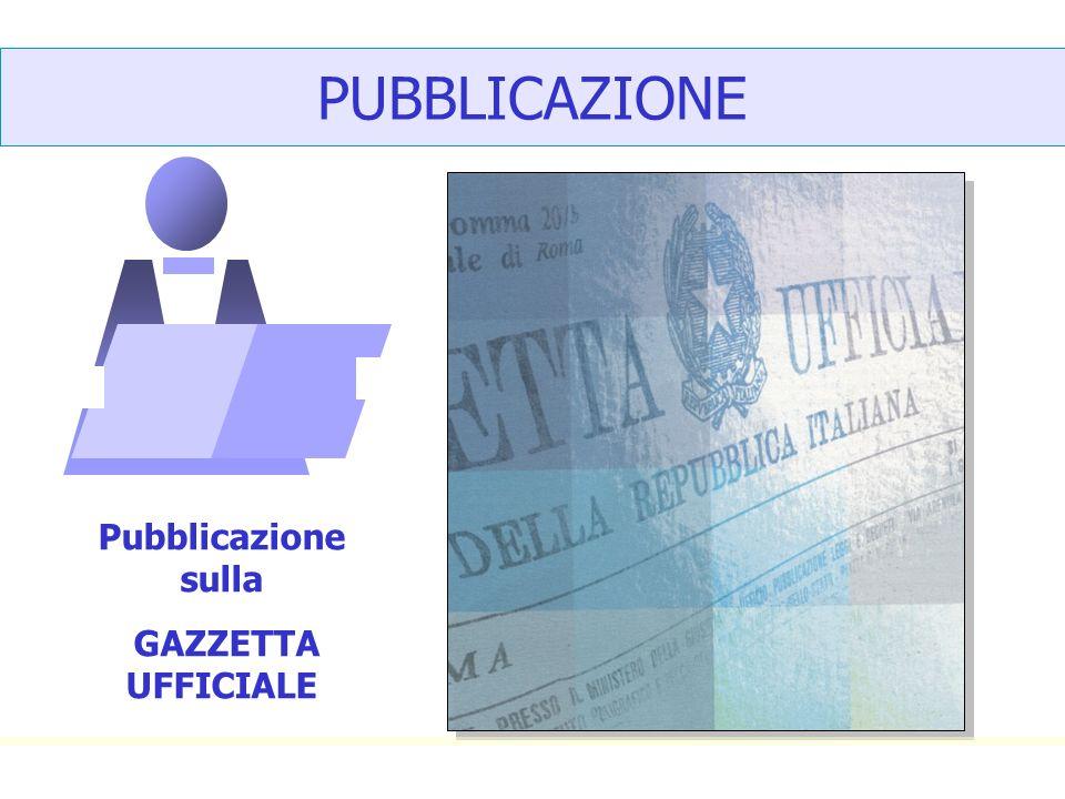 PUBBLICAZIONE Pubblicazione sulla GAZZETTA UFFICIALE